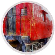 Old Red Caboose Round Beach Towel
