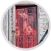 Old Red Door Round Beach Towel