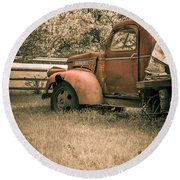 Old Red Farm Truck Round Beach Towel