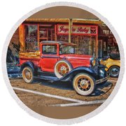 Old Red Pickup Truck Round Beach Towel