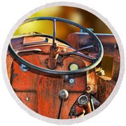 Old Red Tractor Ford 9 N Round Beach Towel