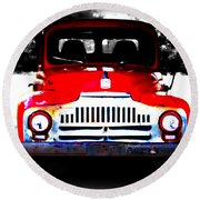 Old Red Truck Round Beach Towel