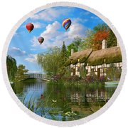 Old River Cottage Round Beach Towel by Dominic Davison
