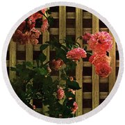 Old Roses, Old Wood Round Beach Towel