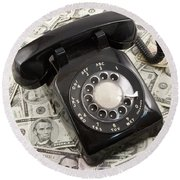 Old Rotary Phone On Money Background Round Beach Towel