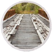 Old Rotten Abandoned Bridge Leading To Nowhere Round Beach Towel