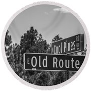 Old Route 66 And Cool Pines Round Beach Towel