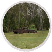 Old Rusted Truck Round Beach Towel