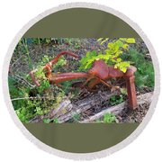 Old Rusty Bike In The Weeds 2 Round Beach Towel