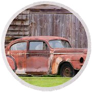 Old Rusty Car Round Beach Towel