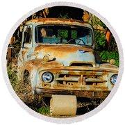 Old Rusty International Flatbed Truck Round Beach Towel