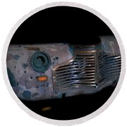 Old Rusty Junk Car In Vivid Colors Round Beach Towel by Gunter Nezhoda