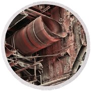 Old Rusty Pipes Round Beach Towel