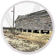 Old Salted Building Round Beach Towel
