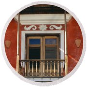 Old San Juan Balcony Round Beach Towel