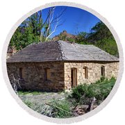 Old Sandstone Brick Farm House Nine Mile Canyon - Utah Round Beach Towel