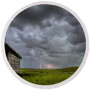 Old School House And Lightning Round Beach Towel by Mark Duffy