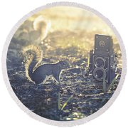 Old School Round Beach Towel by Laura Fasulo