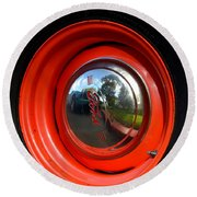 Old School Wheel And New Reflection Round Beach Towel