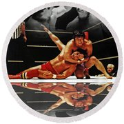 Old School Wrestling Headlock By Dean Ho On Don Muraco With Reflection Round Beach Towel