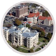 Old Sedgwick County Courthouse In Wichita Round Beach Towel