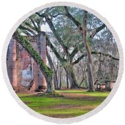 Old Sheldon Church Angled With Tombs Round Beach Towel