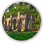 Old Sheldon Church Ruins In South Carolina Round Beach Towel