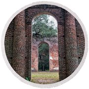 Old Sheldon Ruins Archway Round Beach Towel