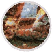 Old Snow Boots Round Beach Towel
