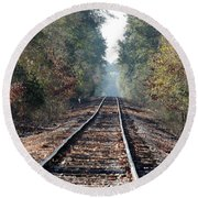 Old Southern Tracks Round Beach Towel