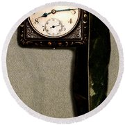 Old Square Clock Round Beach Towel