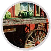 Old Station Cart Round Beach Towel