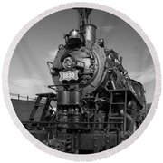 Old Steam Engine Black And White Round Beach Towel