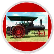 Old Steam Engine Round Beach Towel