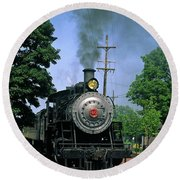 Old Steam Train Round Beach Towel