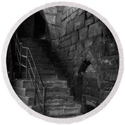 Old Steps In Chester England Round Beach Towel