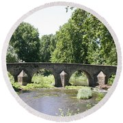 Old Stone Arch Bridge Round Beach Towel