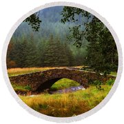 Old Stone Bridge Over Kinglas River. Scotland Round Beach Towel