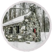 Old Stone Chapel Stowe Vermont Round Beach Towel