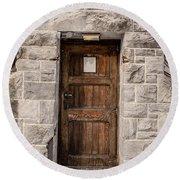 Old Stone Church Door Round Beach Towel
