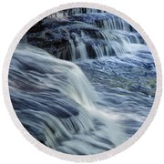 Old Stone Fort Waterfall Round Beach Towel