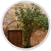 Old Stone House With Plants  Round Beach Towel