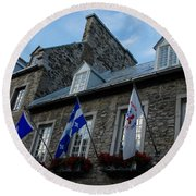 Old Stone Houses In Quebec City Canada  Round Beach Towel