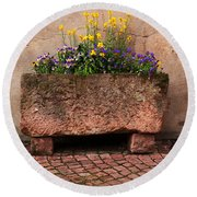 Old Stone Trough And Flowers In Alsace France Round Beach Towel