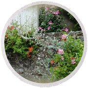 Old Stone Wall Round Beach Towel