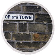 Old Street Sign Round Beach Towel