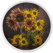 Old Sunflowers Round Beach Towel
