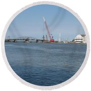 Old Swing Bridge Chincoteague Round Beach Towel