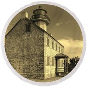 Old Time East Point Light Round Beach Towel