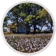 Old Time Farm And Cotton Fields Round Beach Towel